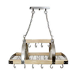 Elegant Designs Home 2-Light Kitchen Pot Rack in Wood/Brushed Nickel