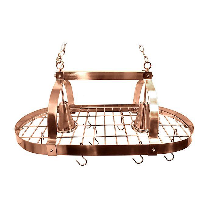 Alternate image 1 for Elegant Designs Home 2-Light Kitchen Pot Rack in in Copper