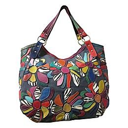 Amelia Leather & Denim Tote Bag in Rainbow