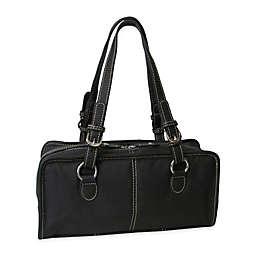 Amerileather Classy Belt Stitched Leather Satchel in Dark Brown
