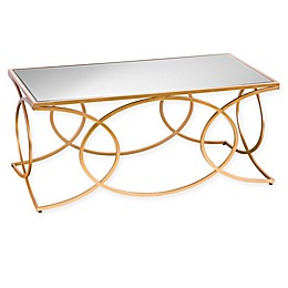 Southern Enterprises Denise Iron and Mirror Geometric Cocktail Table in Gold