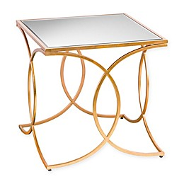 Southern Enterprises Denise Iron and Mirror Geometric End Table in Gold
