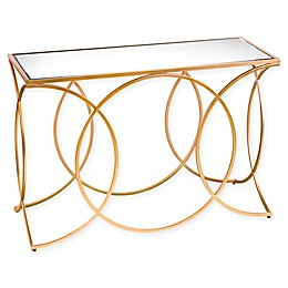 Southern Enterprises Denise Iron and Mirror Geometric Console Table in Gold