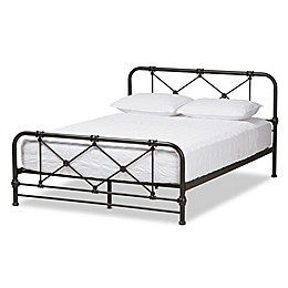 Baxton Studio Beatrice Stippled Metal Queen Platform Bed in Black