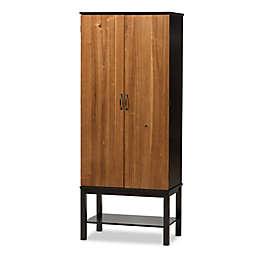 Baxton Studio Marya 2-Tone Wood Wine Cabinet in Dark Brown/Walnut