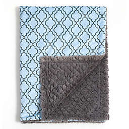 Baby Laundry® Minky Lattice/Tile Blanket in Blue/Grey