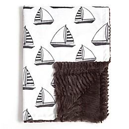 Baby Laundry® Minky Sailboat/Herringbone Blanket in Grey