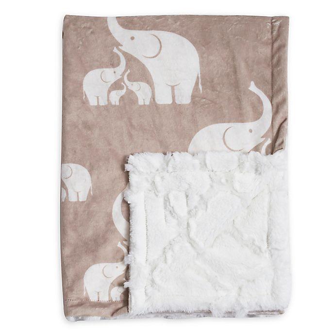 Alternate image 1 for Baby Laundry® Minky Elephant/Tile Blanket in Linen