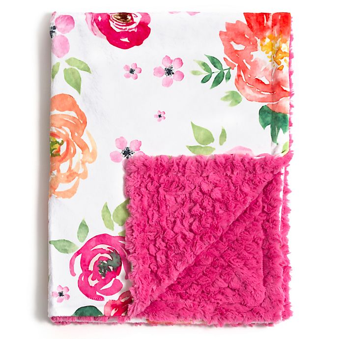 Alternate image 1 for Baby Laundry® Minky Primrose Garden/Tile Blanket in Primrose