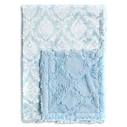 Baby Laundry® Minky Damask/Tile Blanket in Crystal Blue