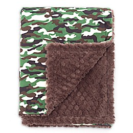 Baby Laundry® Minky Camo/Tile Blanket in Green/Brown
