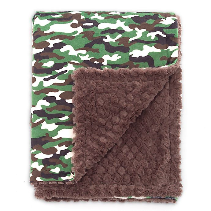 Alternate image 1 for Baby Laundry® Minky Camo/Tile Blanket in Green/Brown