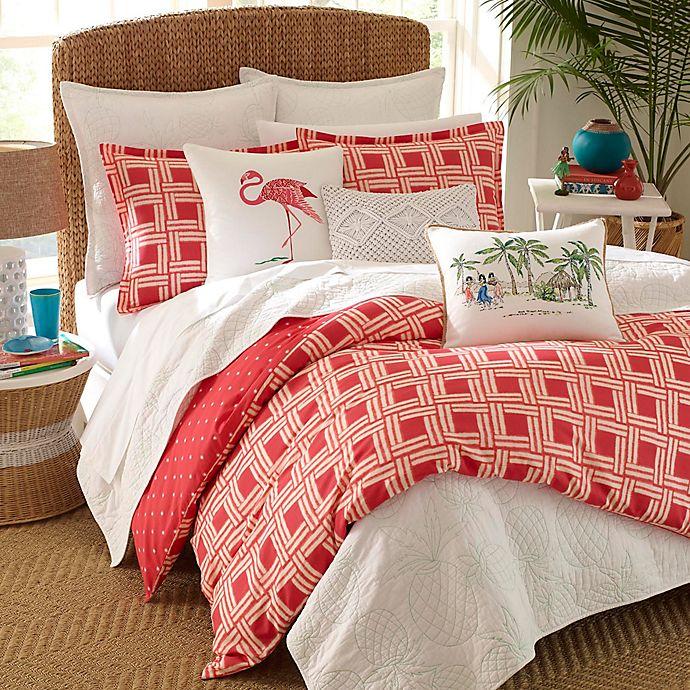 Alternate image 1 for Nine Palms Sunrise Full/Queen Reversible Duvet Set in Bright Red