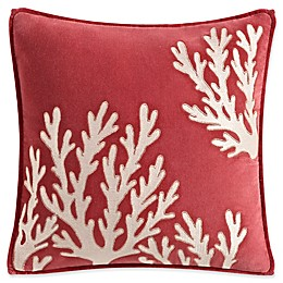 Coastal Life Madaket Square Throw Pillow in Coral