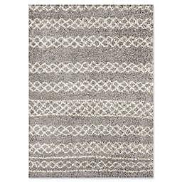 "Momeni Maya Geometric 5'3"" x 7'6"" Shag Area Rug in Grey"