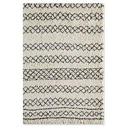 "Momeni Maya Geometric 5'3"" x 7'6"" Shag Area Rug in Ivory"