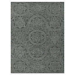 Amer Ascent Curved Medallion Hand Tufted Rug in Grey