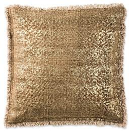 Safavieh Metallic Sponge Square Throw Pillow in Caramel