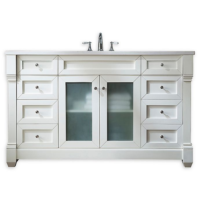 Alternate image 1 for James Martin Furniture Weston 60-Inch Single Vanity with Glass Doors in Cottage White