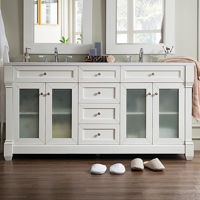 Alternate image 1 for James Martin Furniture Weston 72-Inch Double Vanity with Glass Doors in Cottage White