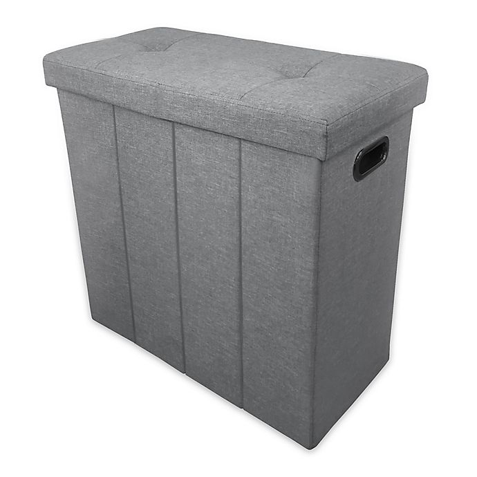 Alternate image 1 for Ginsey Home + Solutions Foldable Seated Hamper in Light Grey