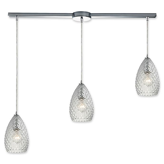 Alternate image 1 for Elk Lighting Geval Track Top 3-Light Pendant in Polished Chrome with Clear Glass Shades