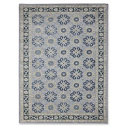 Amer Castille Floral Medallion Hand Tufted Rug in Blue