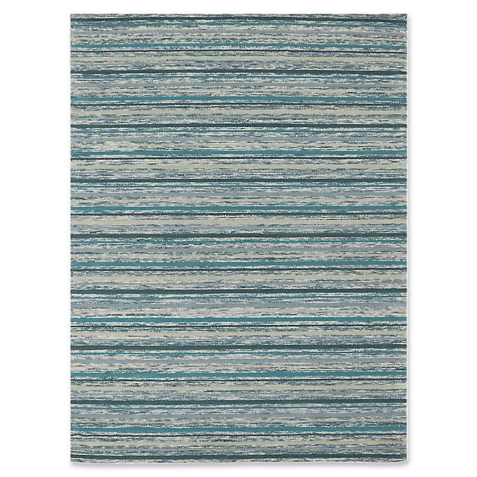 Alternate image 1 for Rugs America Hudson Stripes 8' x 11' Area Rug in Teal