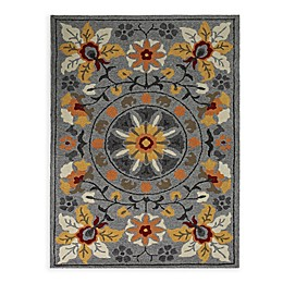 Amer Piazza Floral Indoor/Outdoor Rug in Grey