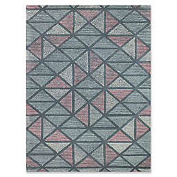 Amer Rugs Vector Modern Hand-Tufted 7'6 x 9'6 Rug in Blue/Peach