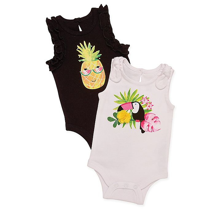 1c9f830531 Baby Starters® Pineapple and Tucan 2-Pack Bodysuits in Black White ...