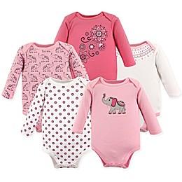 Hudson Baby® 5-Pack Boho Elephant Long Sleeve Bodysuits in Pink