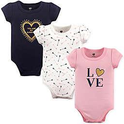 "Hudson Baby® Size 9-12M 3-Pack ""Love"" Short Sleeve Bodysuits"