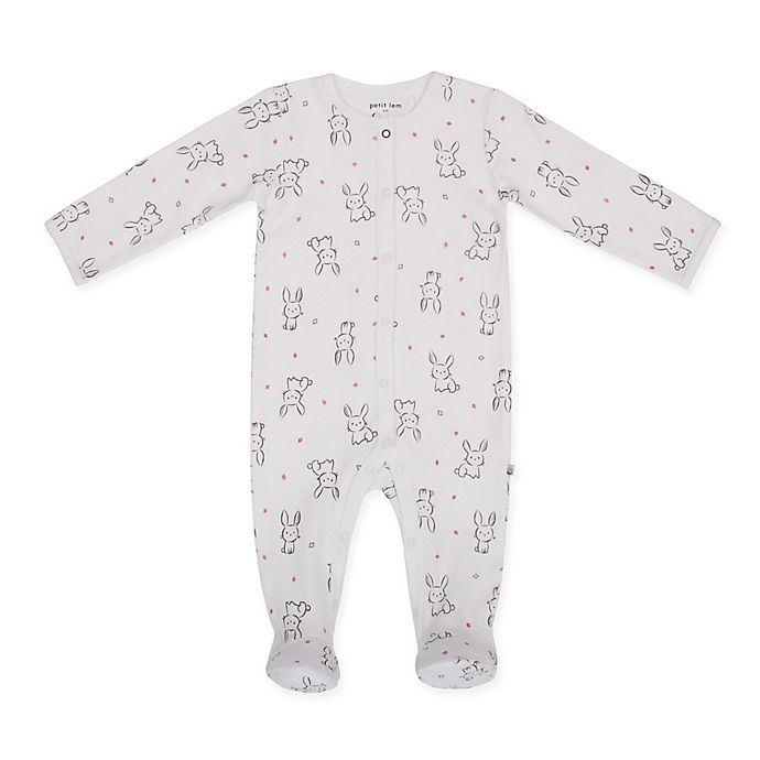 Alternate image 1 for Petit Lem™ Size 6M Bunny Footie in White