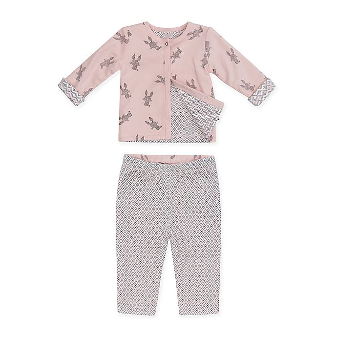Alternate image 1 for Petit Lem™ Size 3M 2-Piece Bunny Reversible Cardigan and Legging Set in Pink