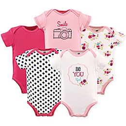 Hudson Baby® 5-Pack Be Youtiful Short Sleeve Bodysuits in Dark Pink