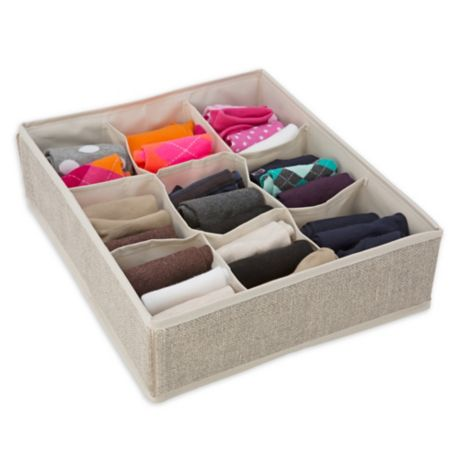 Simplify 9-Compartment Drawer Organizer in Beige | Bed ...