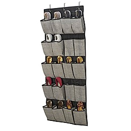Simplify 20-Pocket Over-the-Door Hanging Shoe Organizer in Black