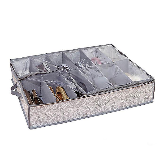 Alternate image 1 for Laura Ashley® Almeida 12-Pocket Under-The-Bed Shoe Storage Box in Grey