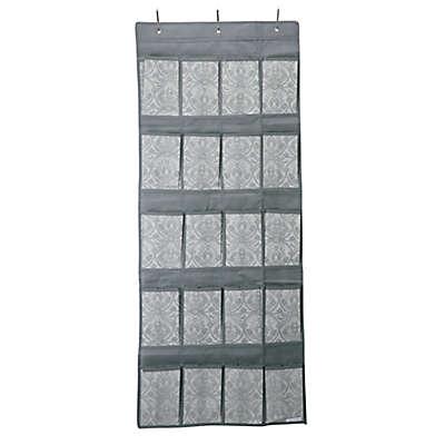 Laura Ashley® Non-Woven 20-Pocket Over-the-Door Hanging Shoe Organizer in Grey