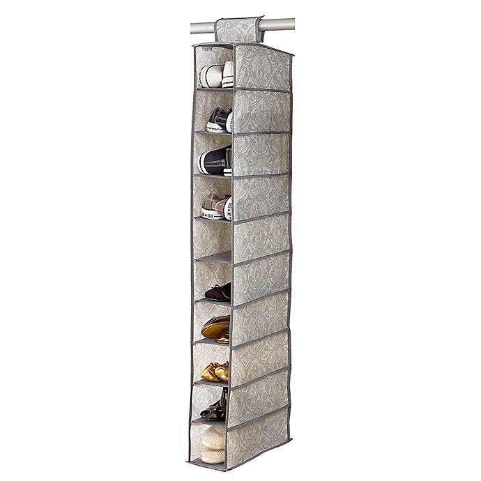 Alternate image 1 for Simplify Non-Woven 10-Shelf Hanging Closet Shoe Organizer in White Marble