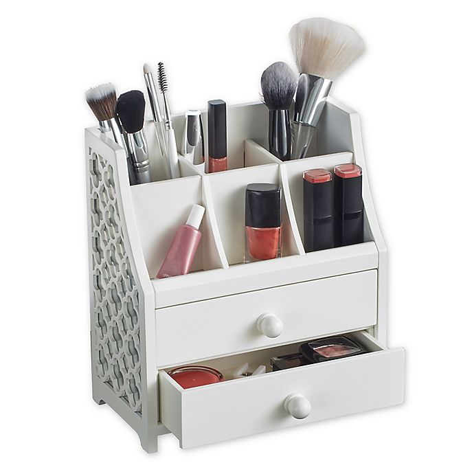 b47d2c637324 2-Drawer Cosmetic Organizer in White   Bed Bath & Beyond