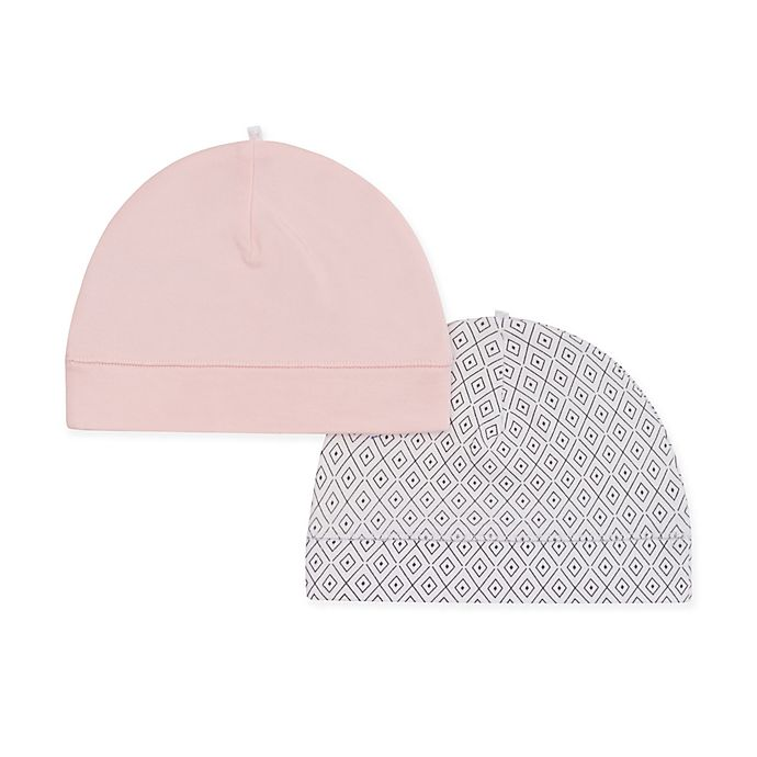 Alternate image 1 for Petit Lem™ Newborn 2-Pack Organic Cotton Hats in Pink/Grey