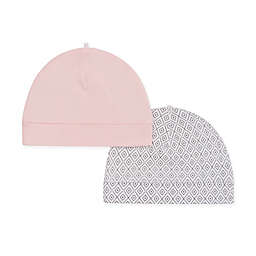 Petit Lem™ Newborn 2-Pack Organic Cotton Hats in Pink/Grey