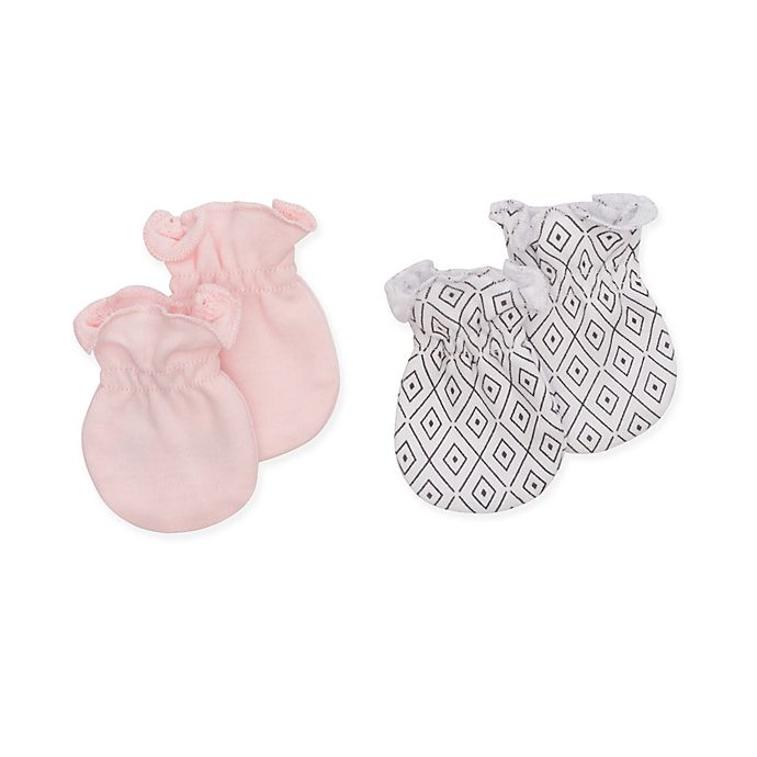 Alternate image 1 for Petit Lem™ 2-Pack Organic Cotton Baby Mittens