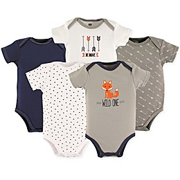 Hudson Baby® Size 18-24M 5-Pack Wild One Short Sleeve Bodysuits in Grey
