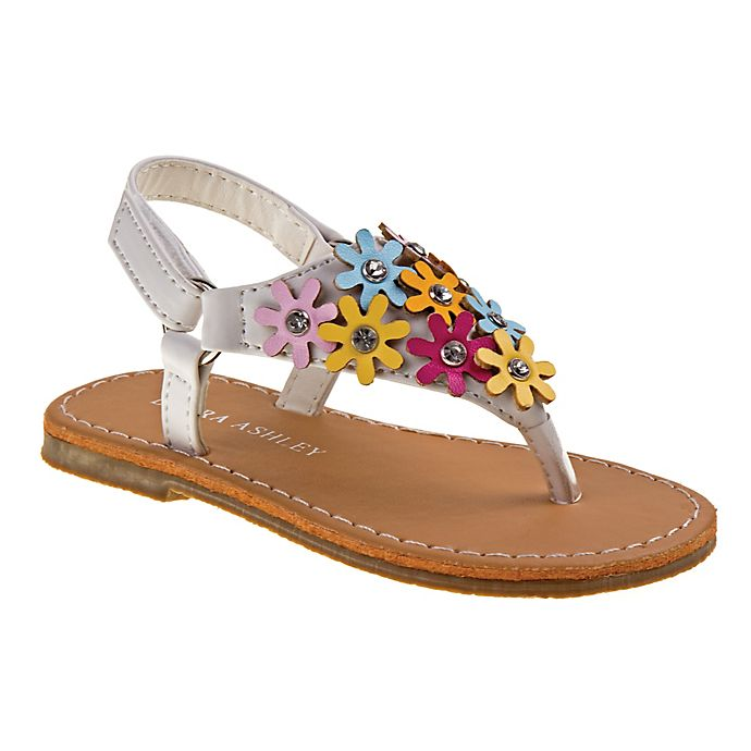 Alternate image 1 for Laura Ashley® Size 6-9M  Floral Thong Sandal