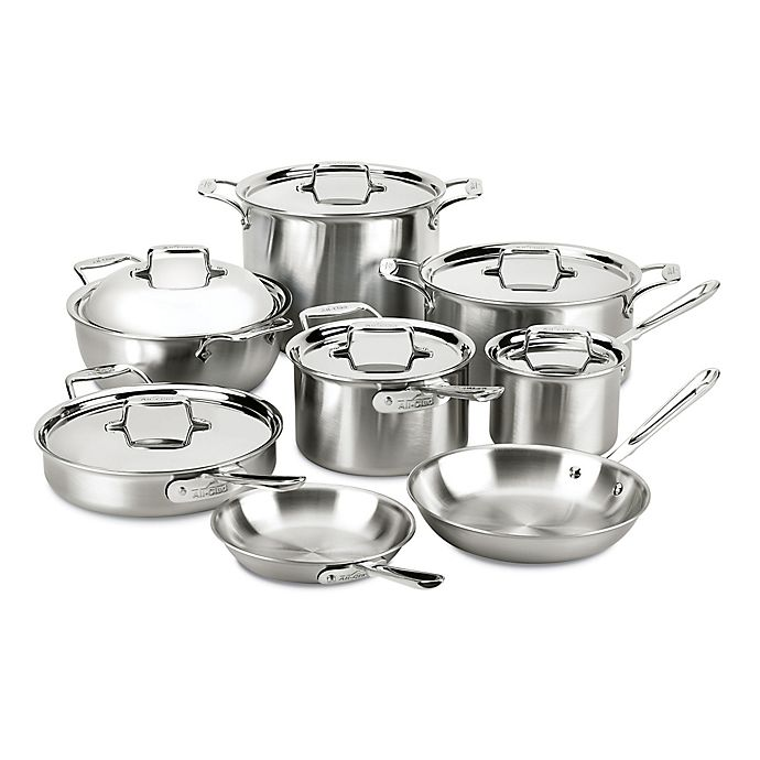 Alternate image 1 for All-Clad d5® Brushed Stainless Steel 14-Piece Cookware Set