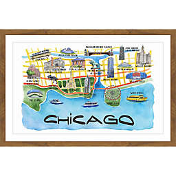 Marmont Hill Chicago Waterfront Multicolor Framed Wall Art