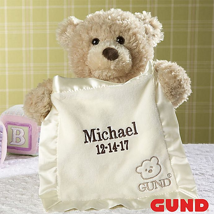 848f4f2bfcf Gund® Embroidered Peek-A-Boo Bear in Tan